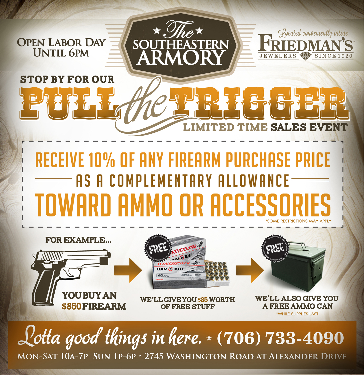 Southeastern Armory - Pull The Trigger before Labor day half 8-30 and 8-31